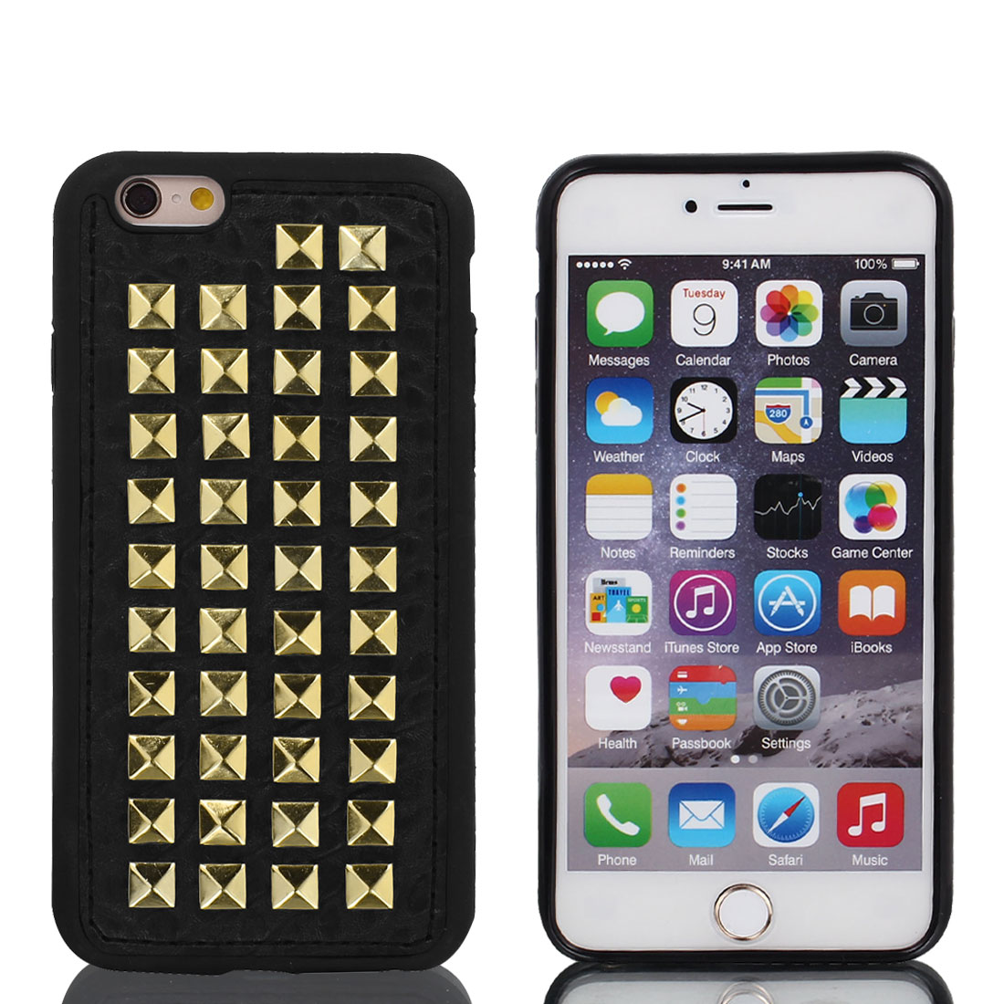 Faux Leather Case Cover Gold Tone w Protective Film for Apple iPhone 6 4.7""