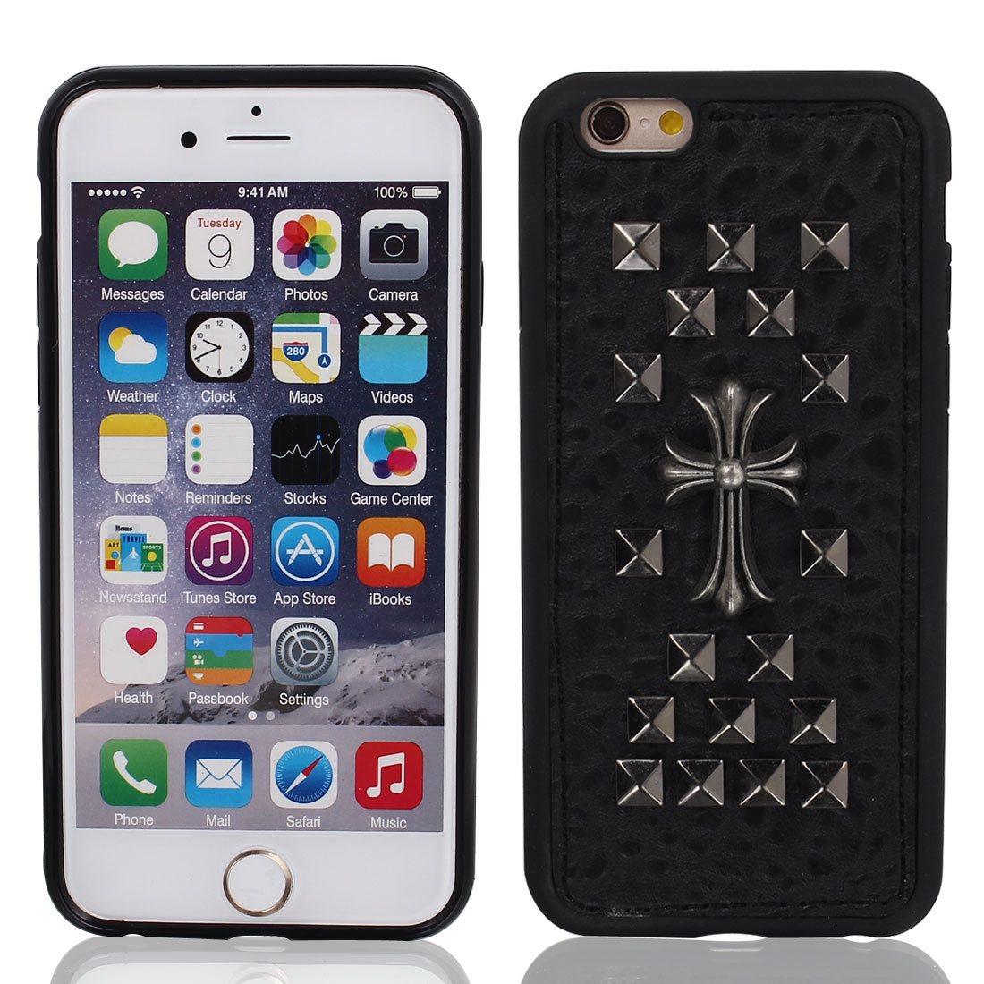 """Faux Leather Rivet Decor Protective Case Cover Black + Film for iPhone 6 4.7"""""""