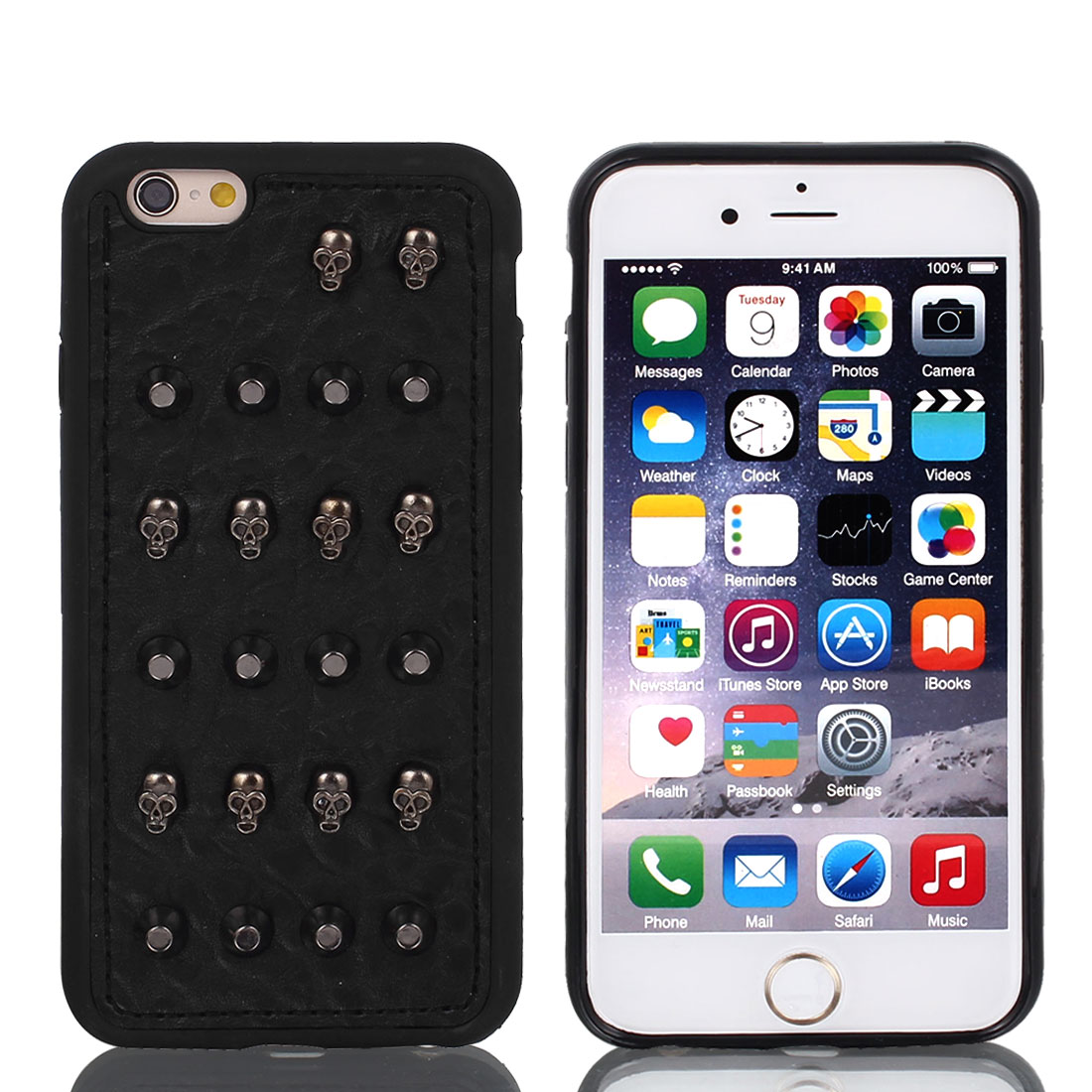 Shockproof Rugged Black Faux Leather Shell Cover Case w Film for iPhone 6 4.7""