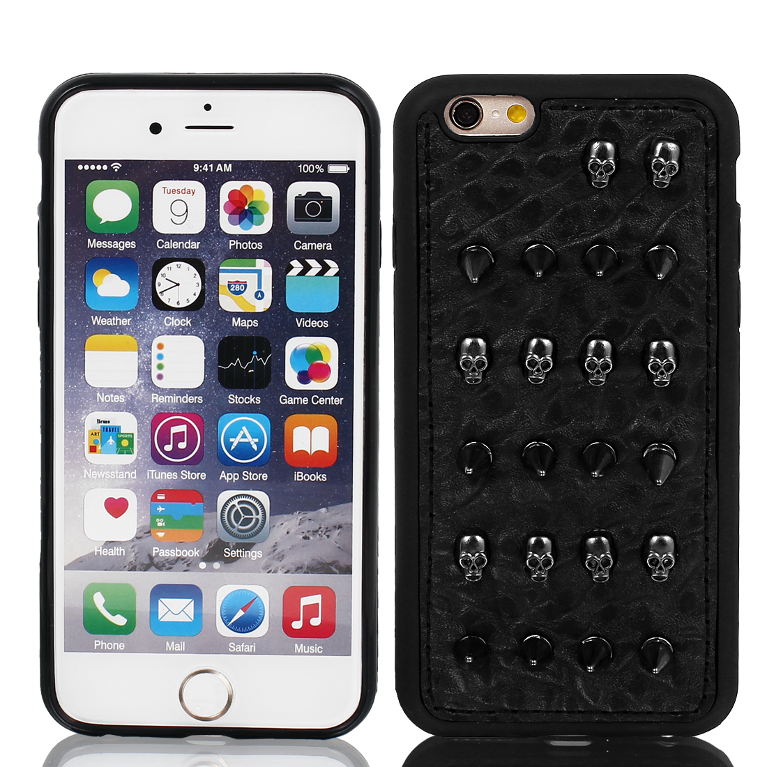 Faux Leather Shockproof Shell Skin Case Cover Black for Apple iPhone 6 4.7""