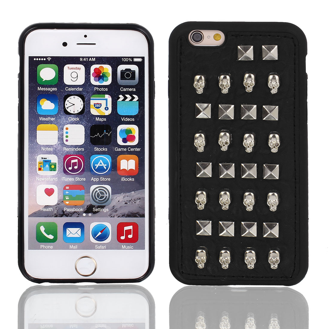 Faux Leather Skin Case Cover Silver Tone w Protective Film for iPhone 6 4.7""