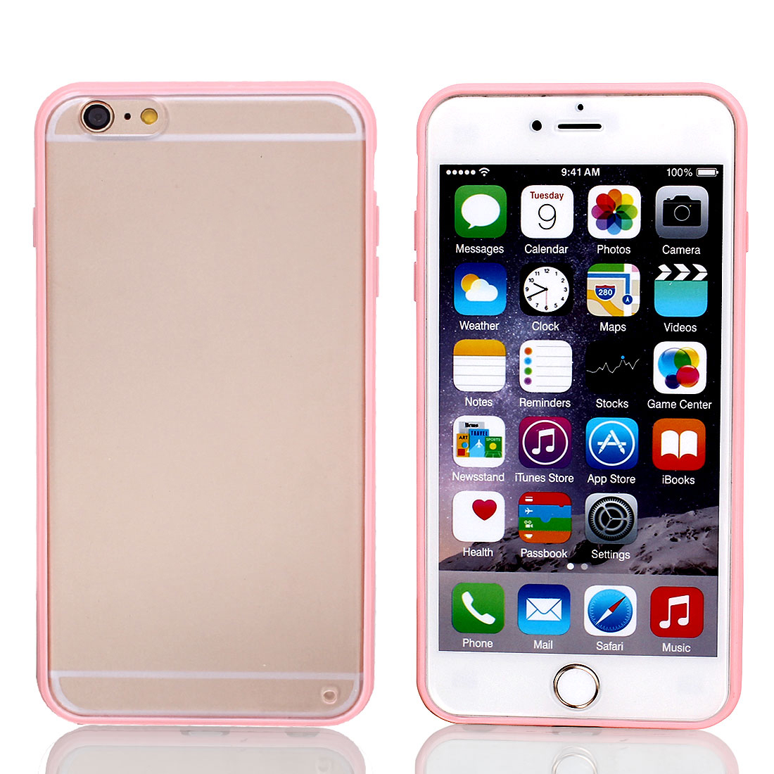 Frosted Bumper Case Cover Protector Clear Pink for Apple iPhone 6 Plus 5.5""