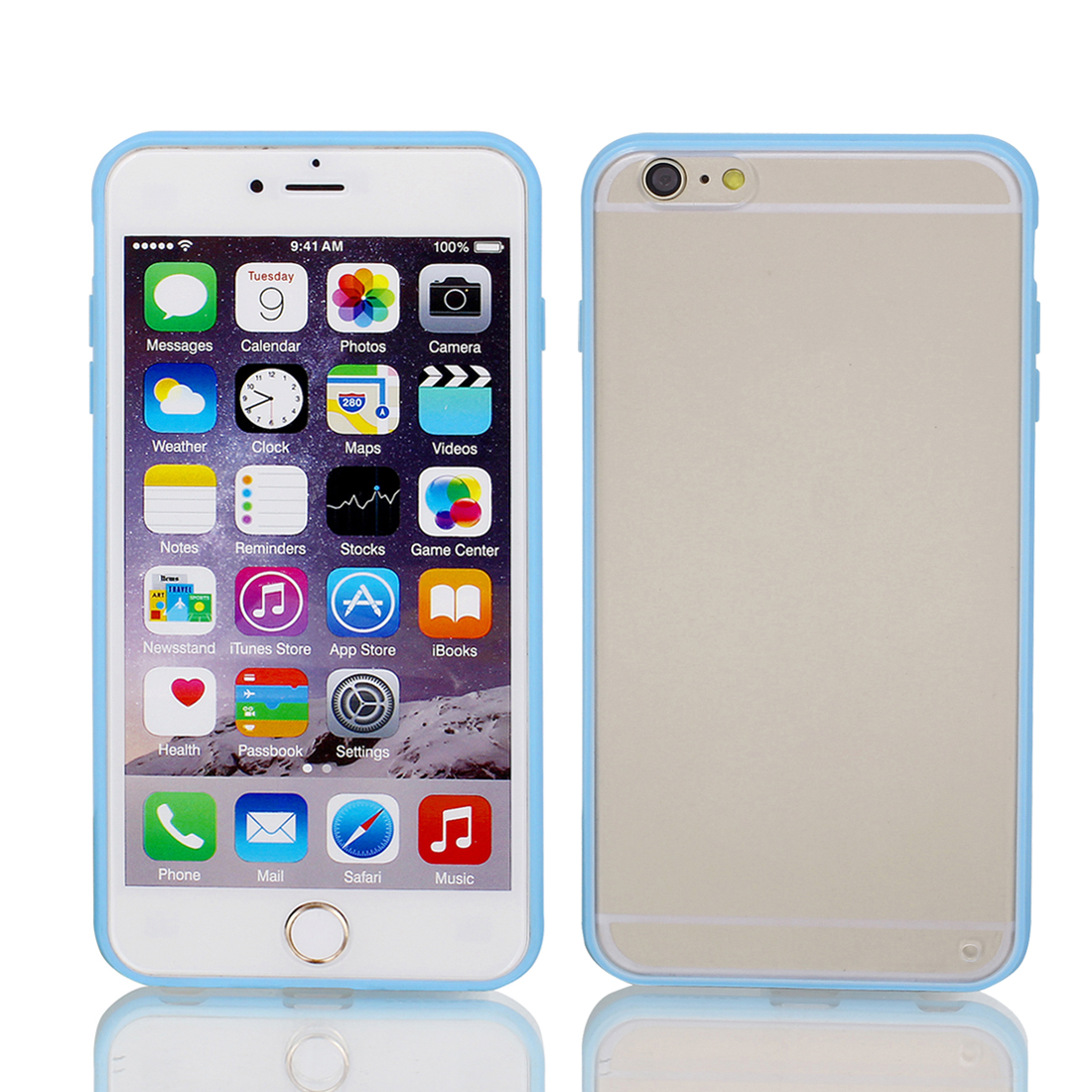 Frosted Bumper Case Cover Protector Clear Blue for Apple iPhone 6 Plus 5.5""