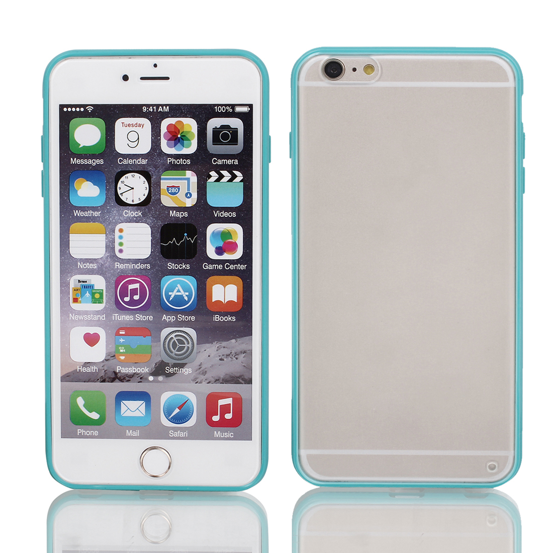 Frosted Bumper Case Cover Protector Clear Teal for iPhone 6 Plus 5.5""