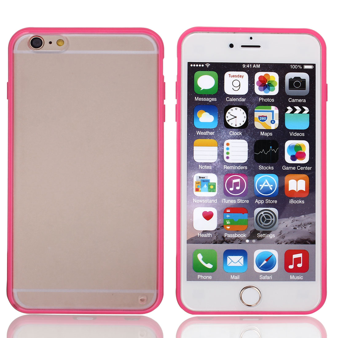 """Frosted Plastic Case Cover Protector Clear Hot Pink for Apple iPhone 6 Plus 5.5"""""""