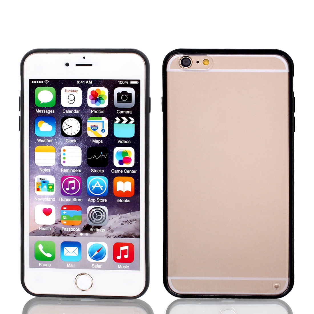 Frosted Bumper Case Cover Protector Clear Black for Apple iPhone 6 Plus 5.5""