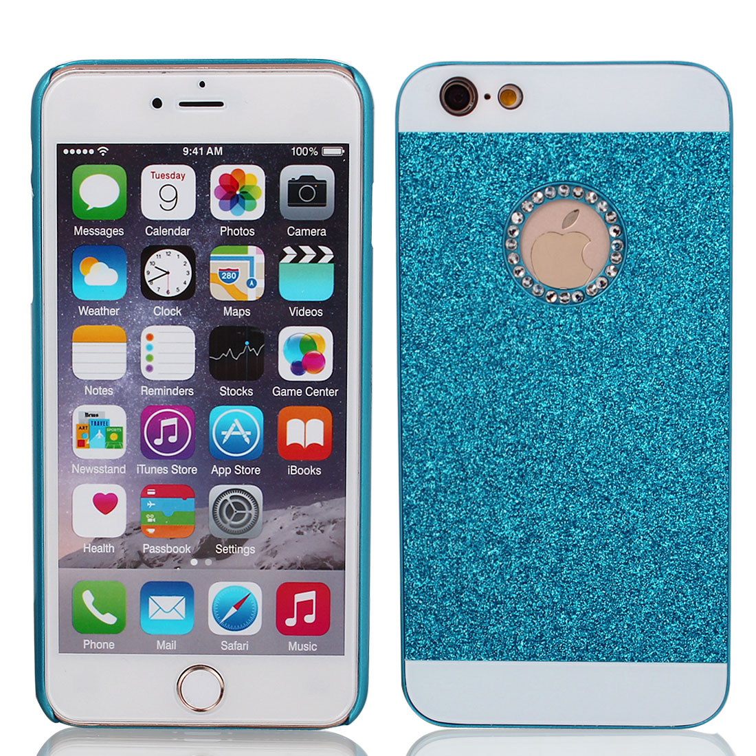 Plastic Glitter Powder Phone Case Cover Blue for iPhone 6 Plus 5.5""