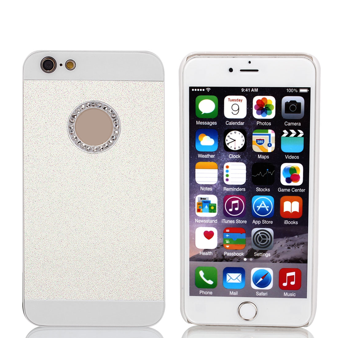 Plastic Rhinestone Bling Hard Phone Cover White for iPhone 6 Plus 5.5""