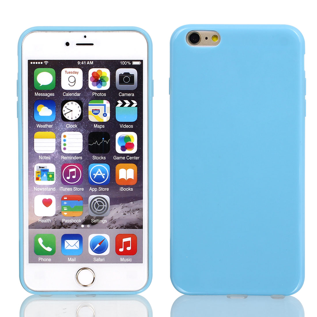 Film + Soft Silicone Case Cover Blue for Apple iPhone 6 Plus 5.5""
