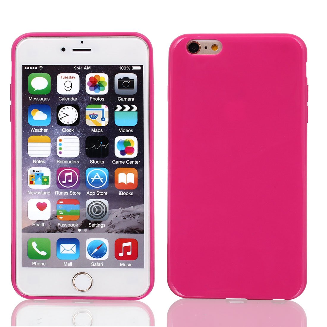 Film + Soft Silicone Case Cover Hot Pink for Apple iPhone 6 Plus 5.5""