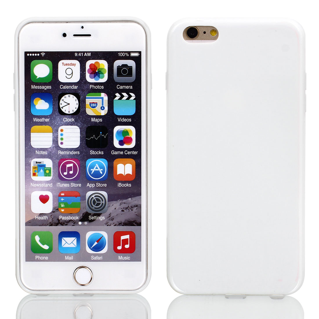 Film + Soft Silicone Case Cover White for Apple iPhone 6 Plus 5.5""