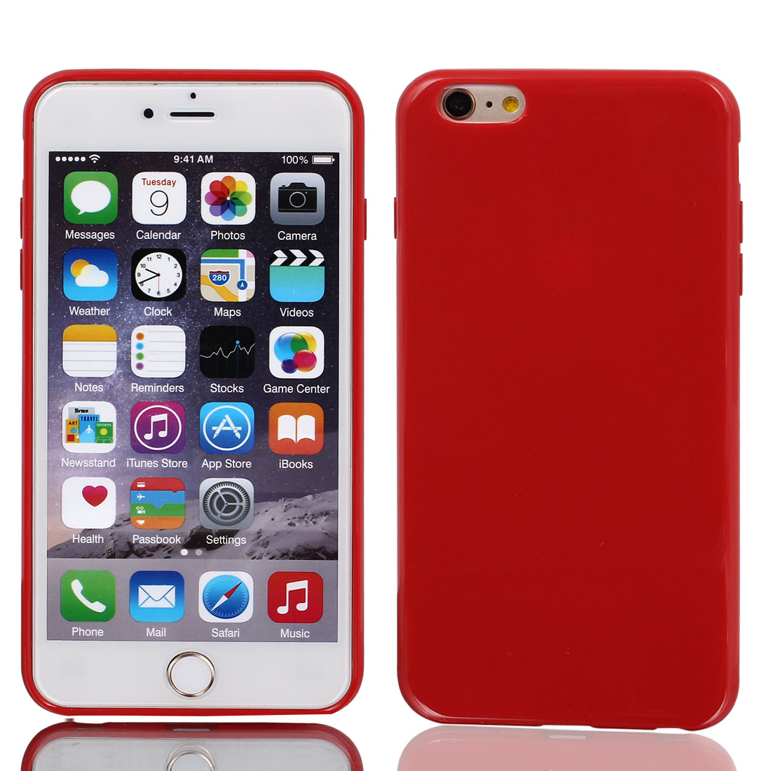 Film + Soft Silicone Case Cover Red for Apple iPhone 6 Plus 5.5""