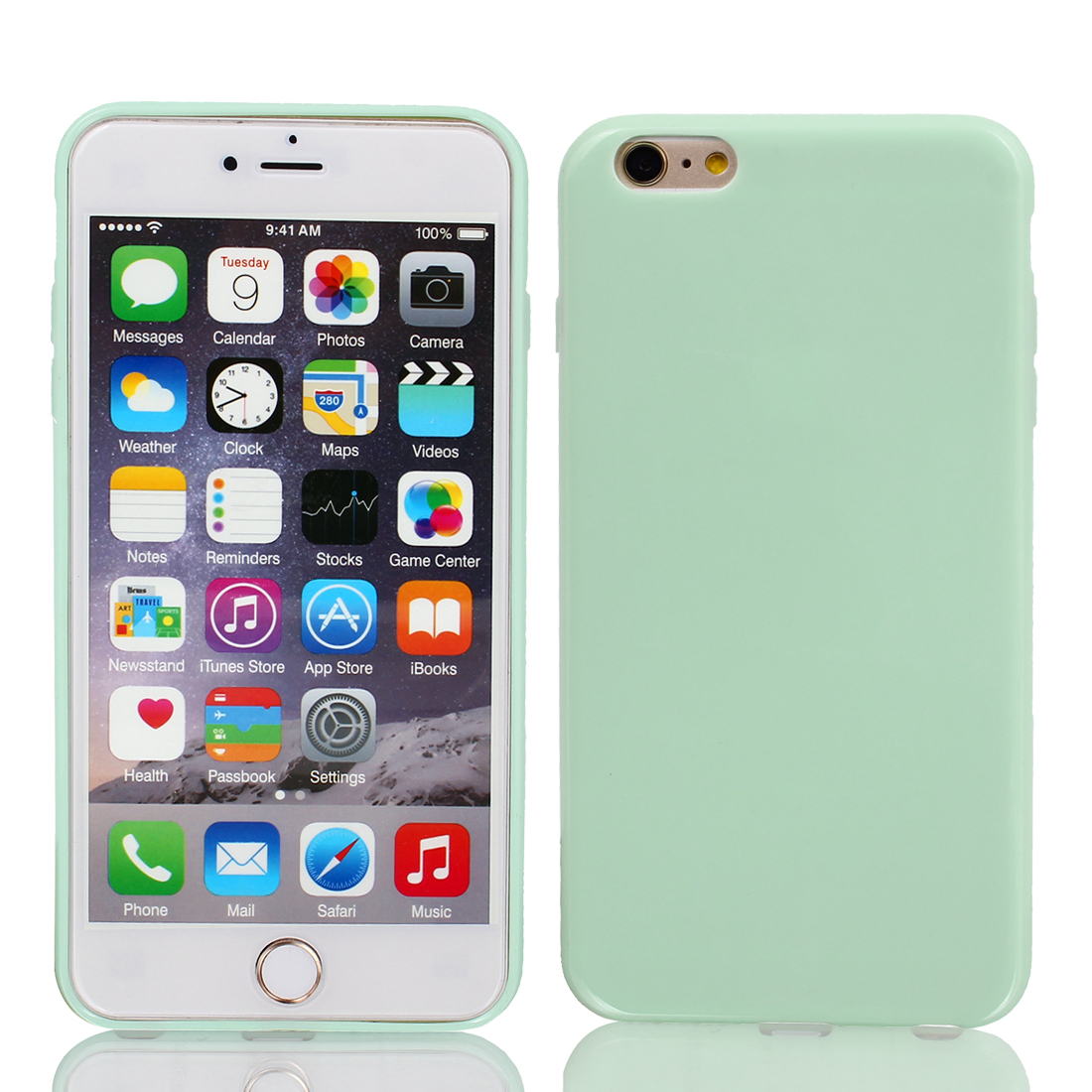 Film + Soft Silicone Case Cover Light Green for Apple iPhone 6 Plus 5.5""