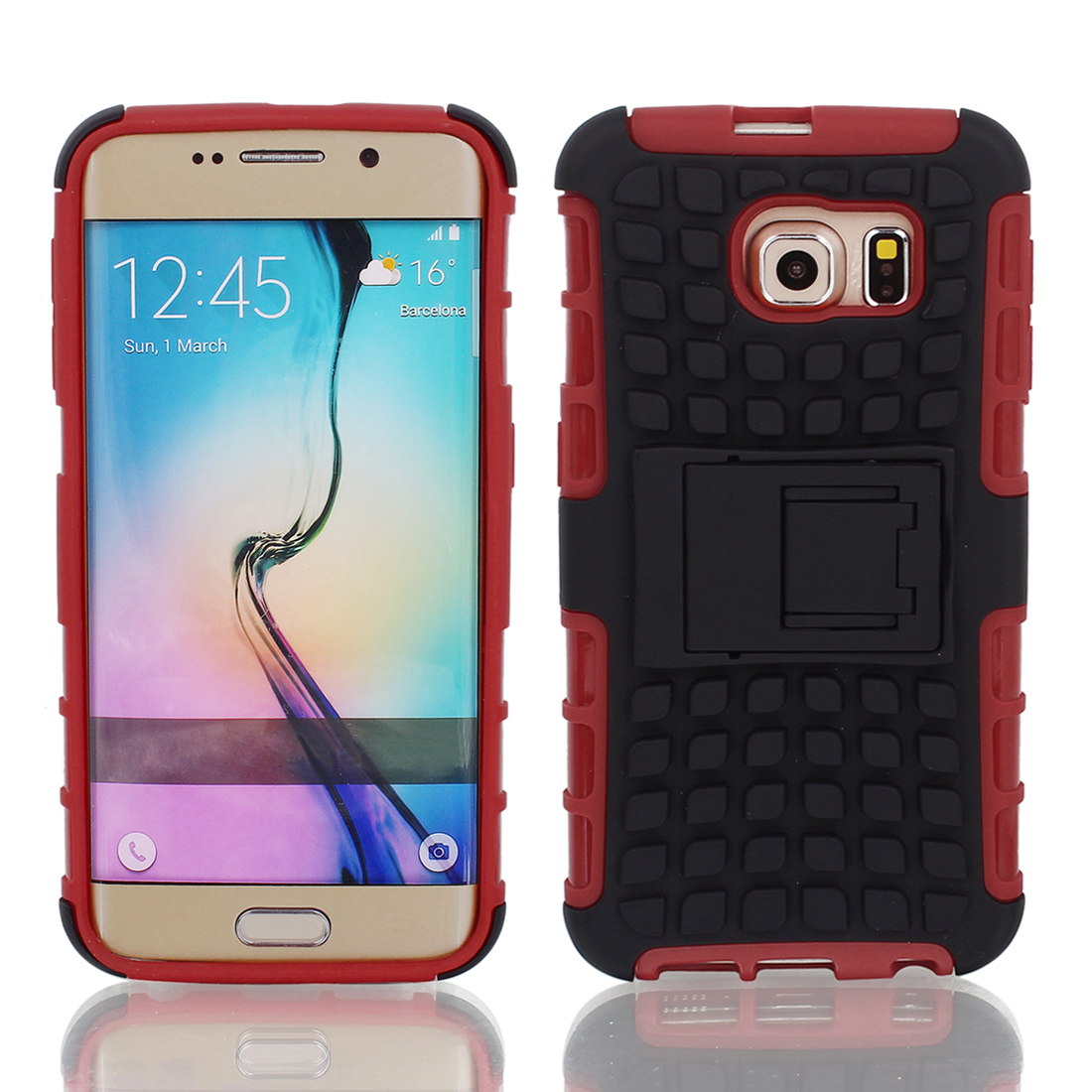 Shockproof Tough Rugged Hard Stand Case Cover Red Black for G9200 Galaxy S6