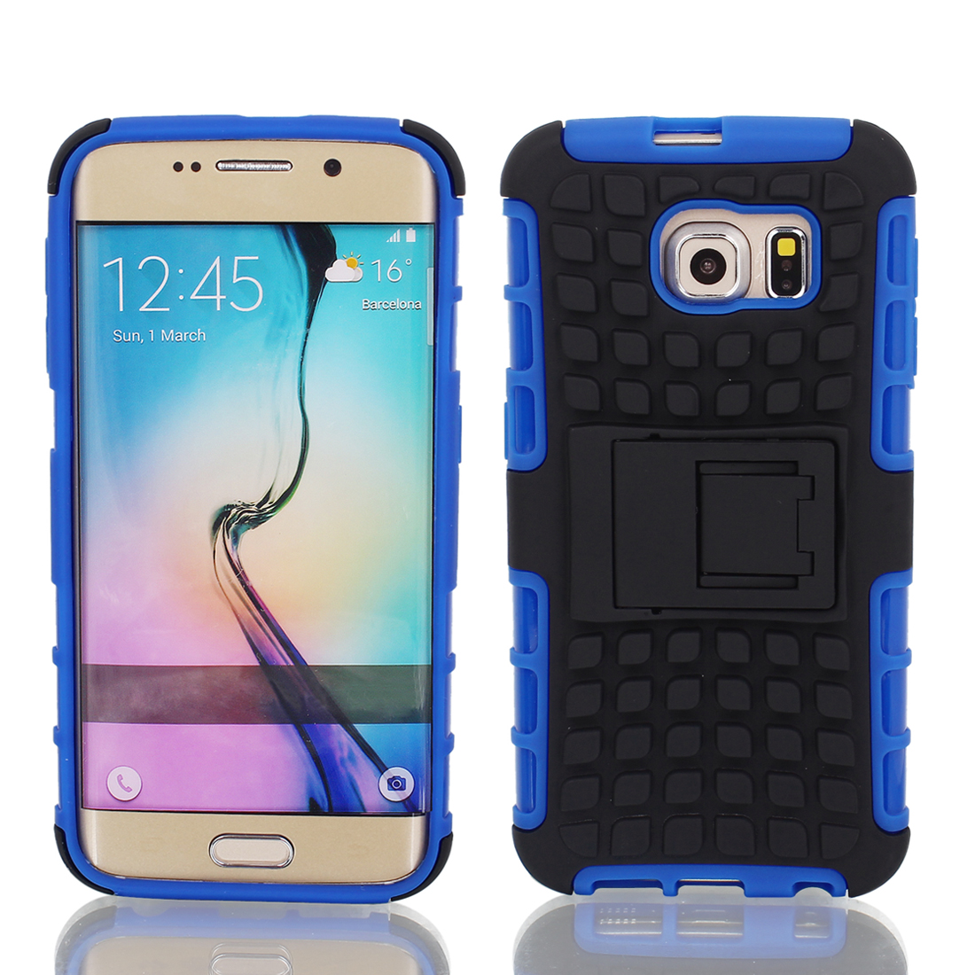 Shockproof Tough Rugged Hard Stand Case Cover Blue Black for G9200 Galaxy S6