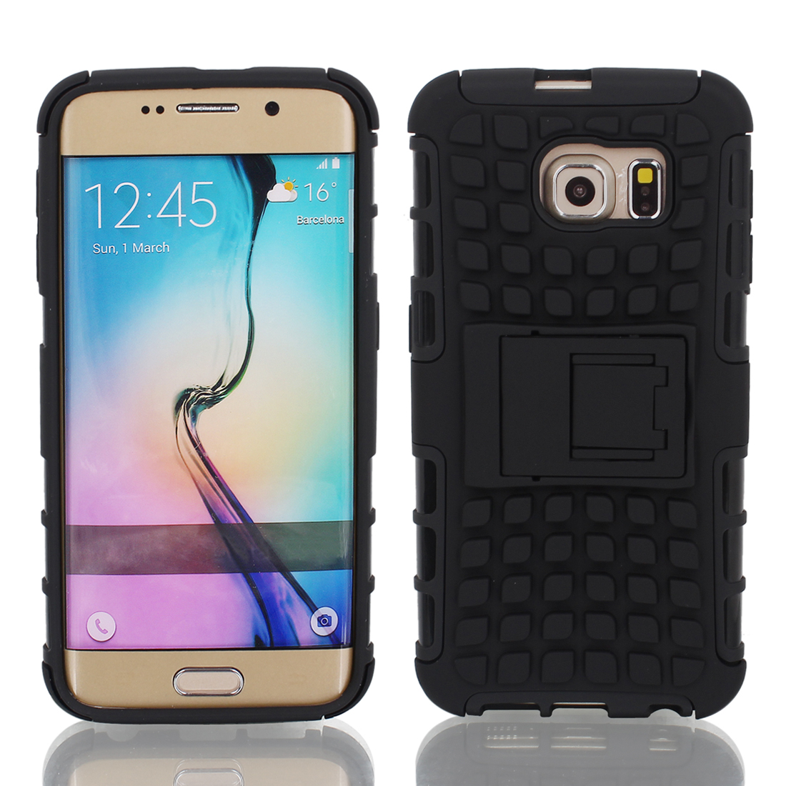 Shockproof Tough Rugged Hard Stand Case Cover Black + Film for G9200 Galaxy S6
