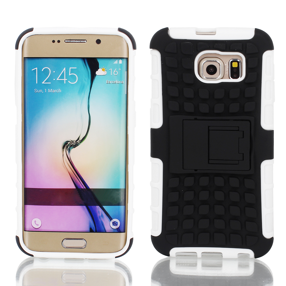 Shockproof Tough Rugged Hard Stand Case Cover White Black for Galaxy S6
