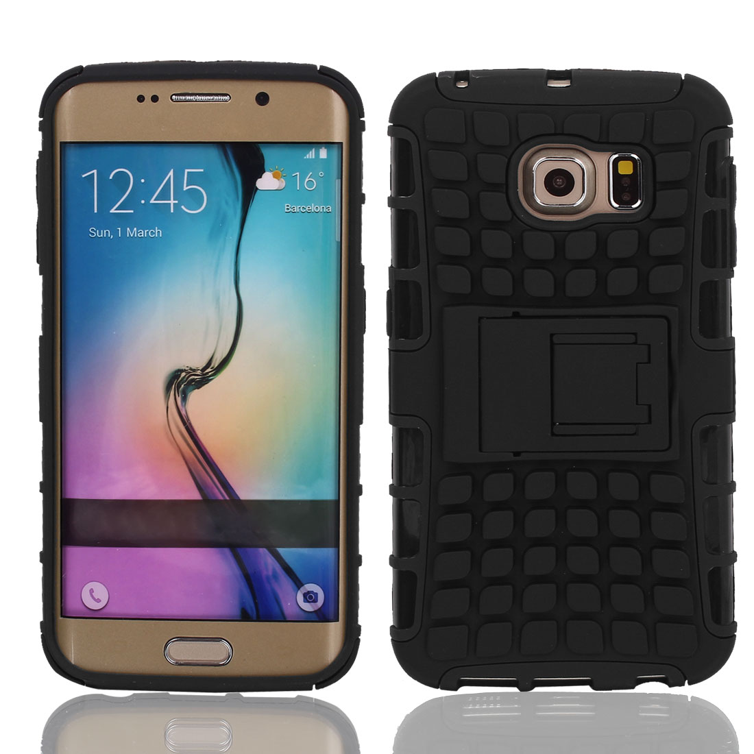 Shock Proof Tough Hard Stand Case Cover Black + Film for G9200 Galaxy S6