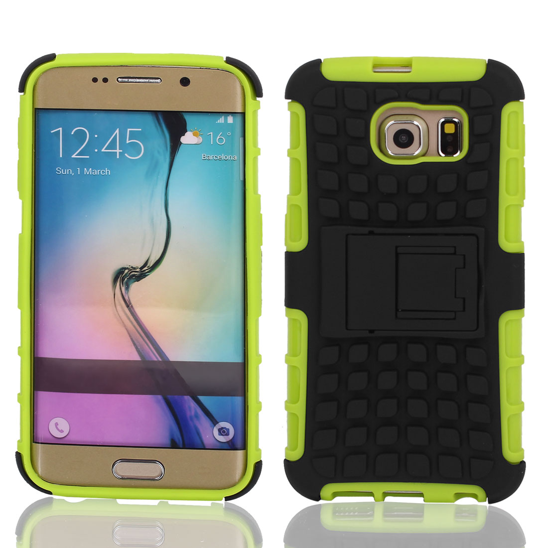 Non-slip Stand Case Cover Black Green + Film for G9200 Galaxy S6