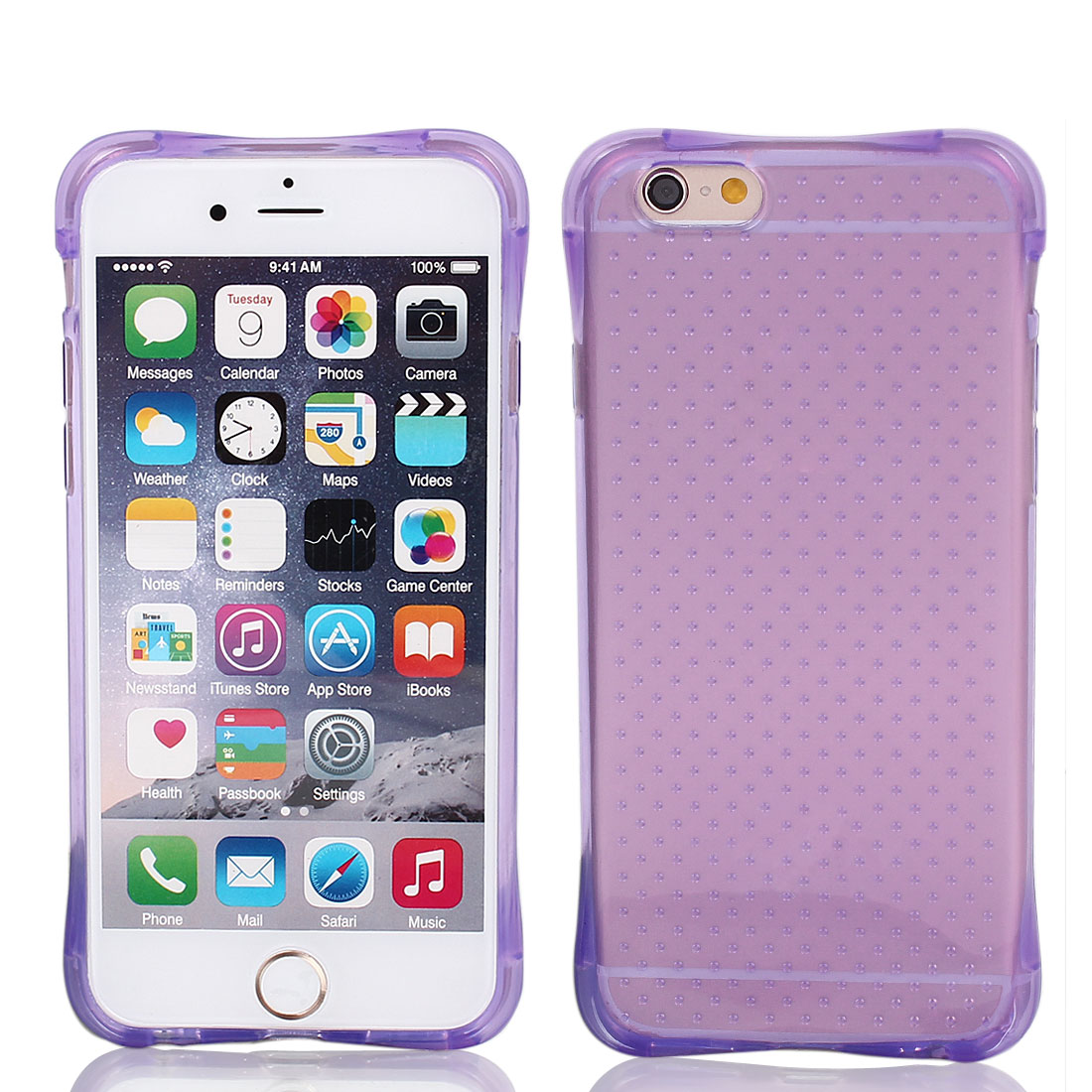 Soft Silicone Clear Frosted Phone Cover Light Purple for iPhone 6 4.7""