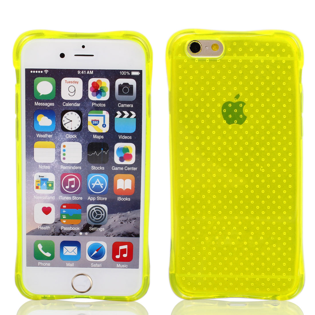 Transparent Yellow Dotted TPU Ultra Slim Case Cover for Apple iPhone 6 4.7""
