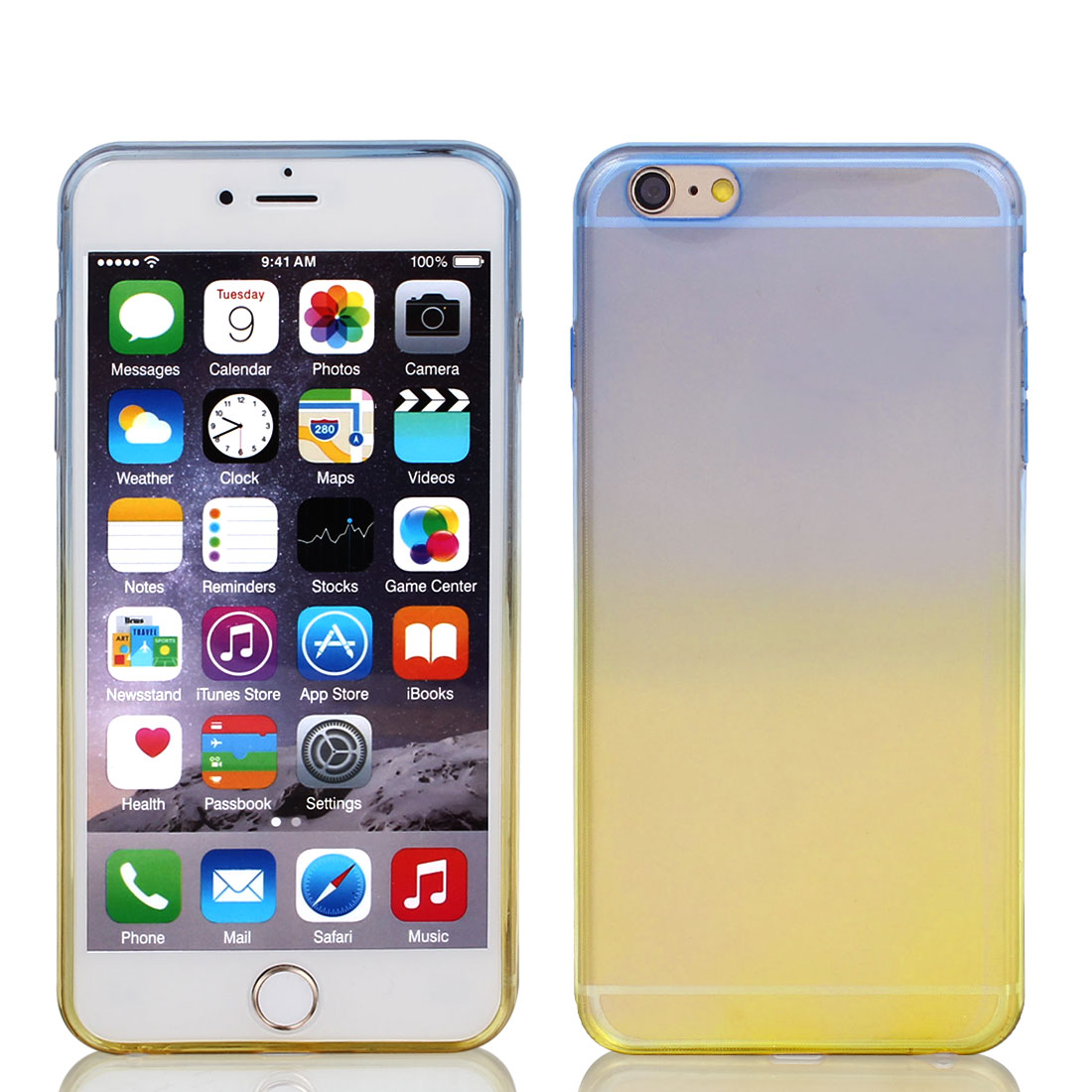 Blue Beige Gradient TPU Ultra Slim Case Cover for Apple iPhone 6 Plus 5.5""