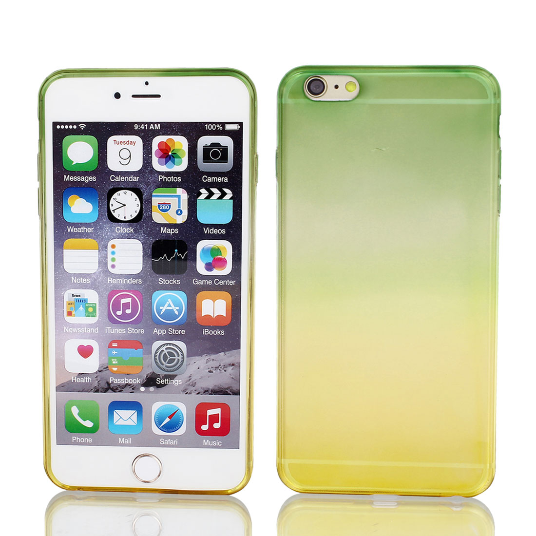 Green Yellow Gradient TPU Ultra Slim Case Cover for Apple iPhone 6 Plus 5.5""