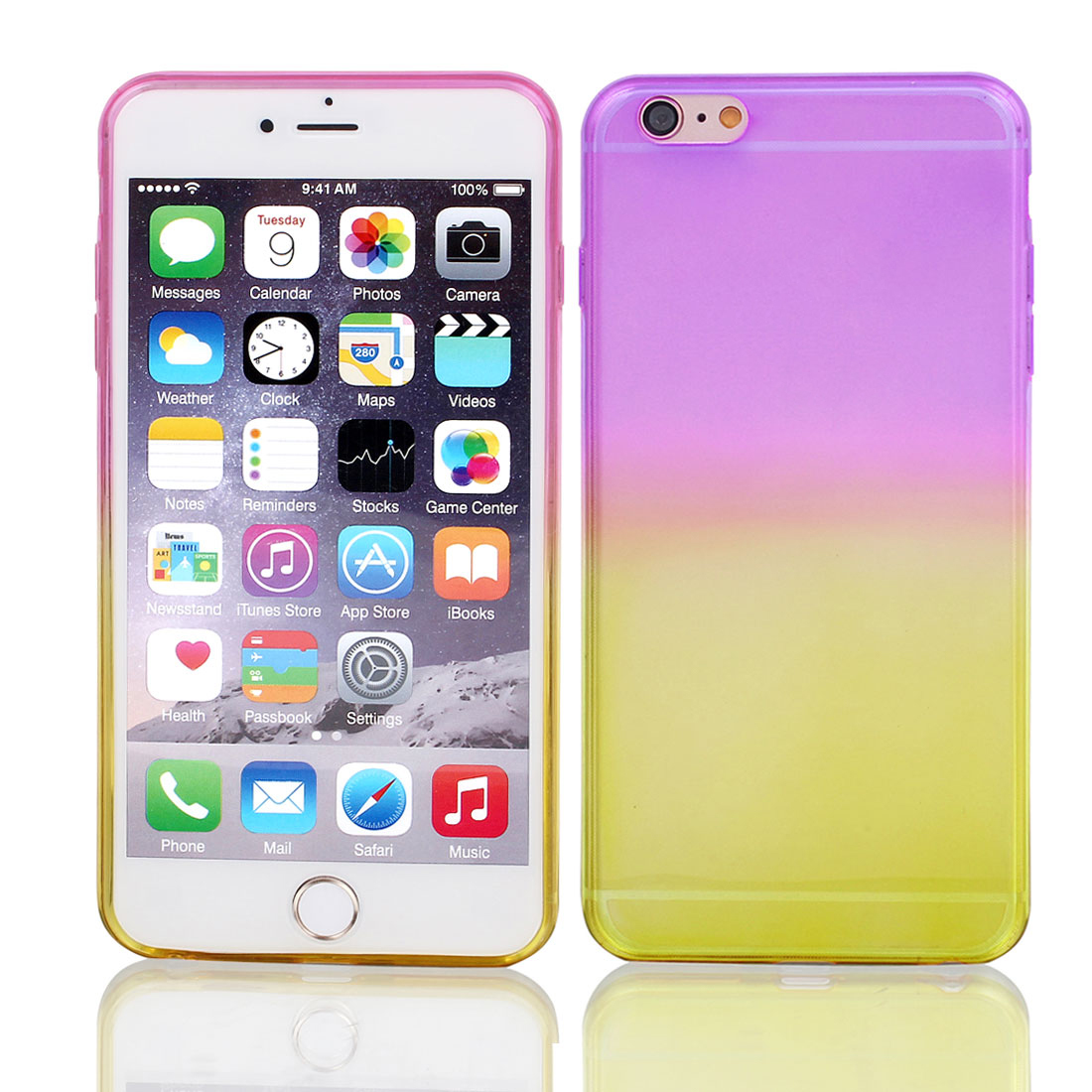 Fuchsia Beige Gradient TPU Ultra Slim Case Cover for Apple iPhone 6 Plus 5.5""