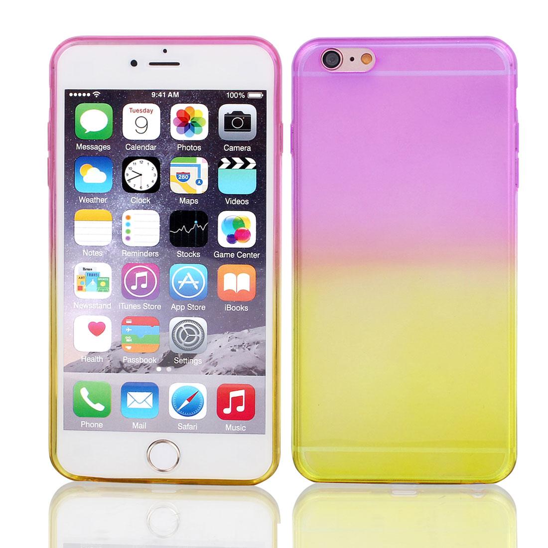 "Fuchsia Yellow Gradient TPU Ultra Slim Case Cover for Apple iPhone 6 Plus 5.5"""