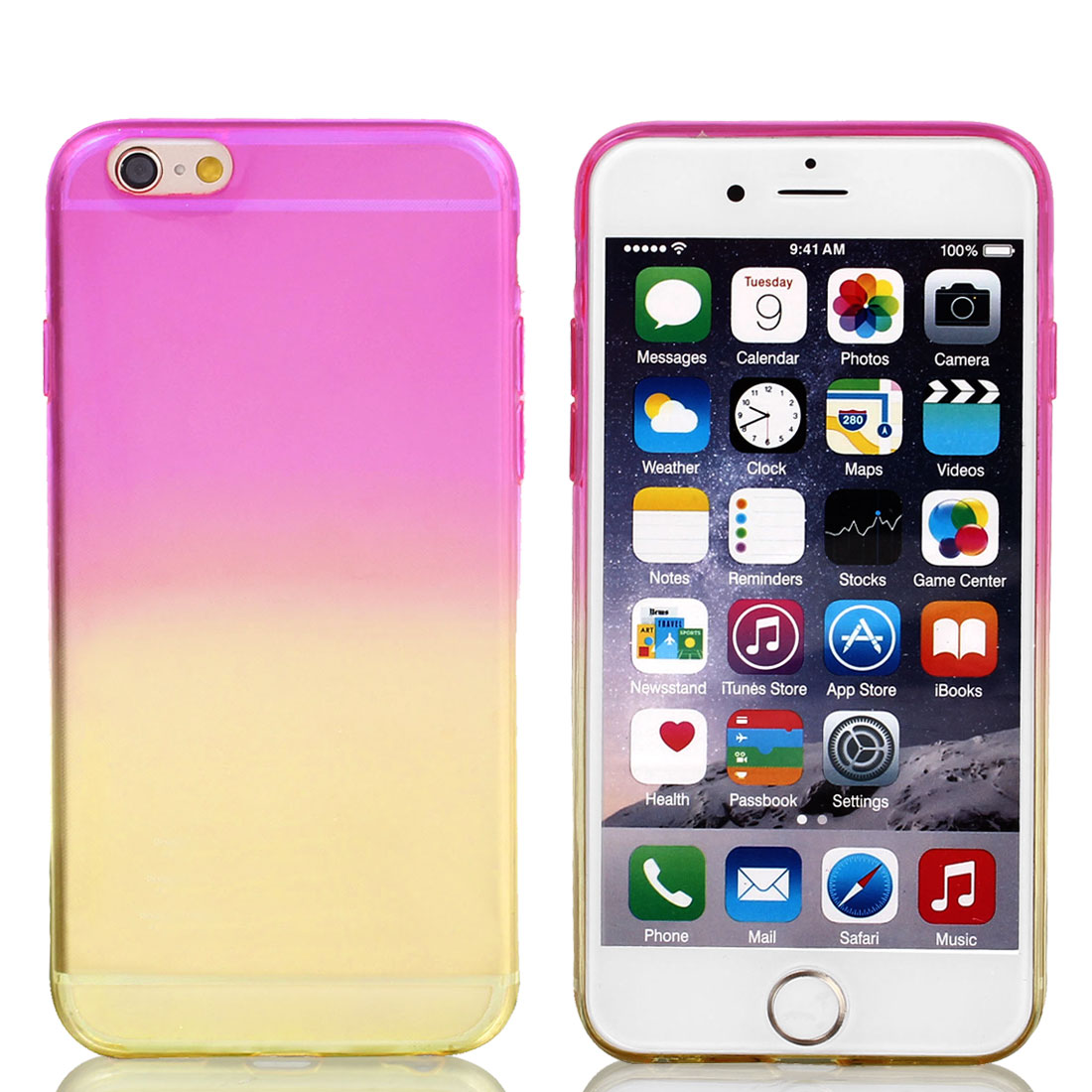 Transparent Soft Phone Skin Cover Purple Yellow for iPhone 6 4.7""