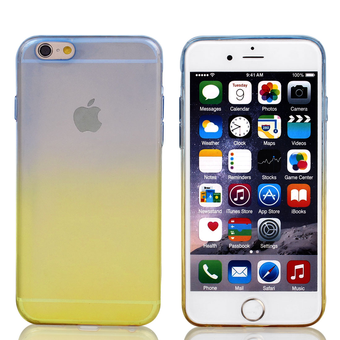 Blue Beige Gradient TPU Ultra Slim Case Cover for Apple iPhone 6 4.7""