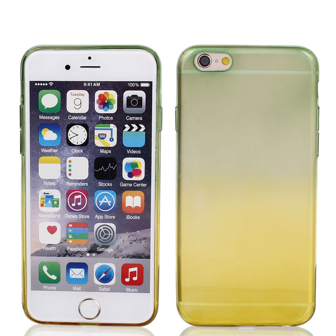 Frosted Soft Phone Skin Cover Green Yellow for iPhone 6 4.7""