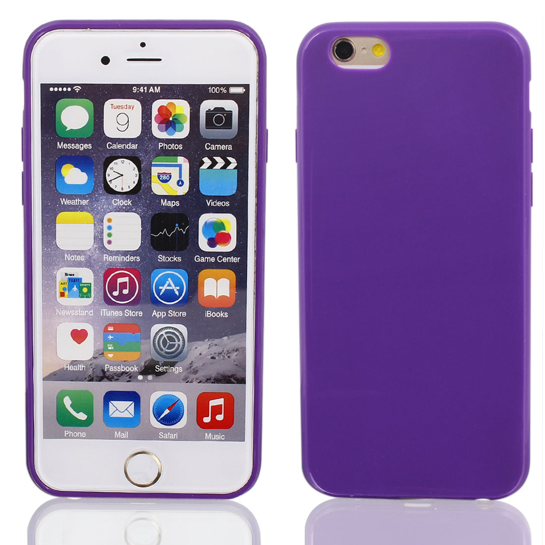 Silicone Protector Rugged Cover Case Purple + Film for Apple iPhone 6 4.7""
