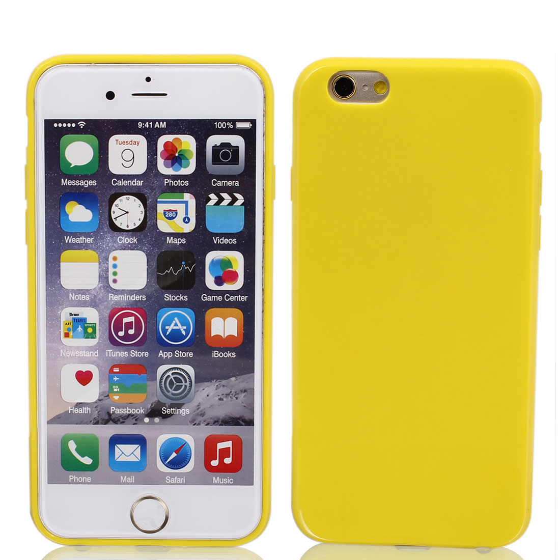 Silicone Protector Rugged Cover Case Yellow + Film for Apple iPhone 6 4.7""