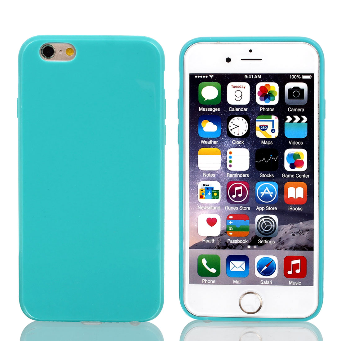 Silicone Protector Rugged Cover Case Blue + Film for Apple iPhone 6 4.7""