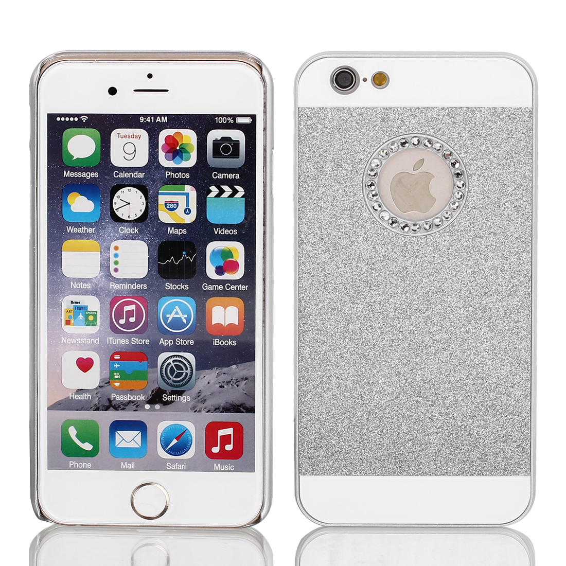 Hard Plastic Skin Case Bumper Cover Silver Tone for Apple iPhone 6 Plus 5.5""