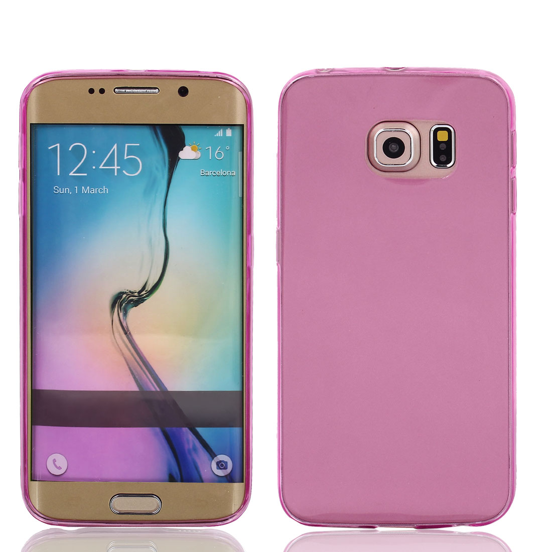 TPU Ultra Thin Case Cover Transparent Clear Pink for Galaxy S6 Edge G9200 G9250