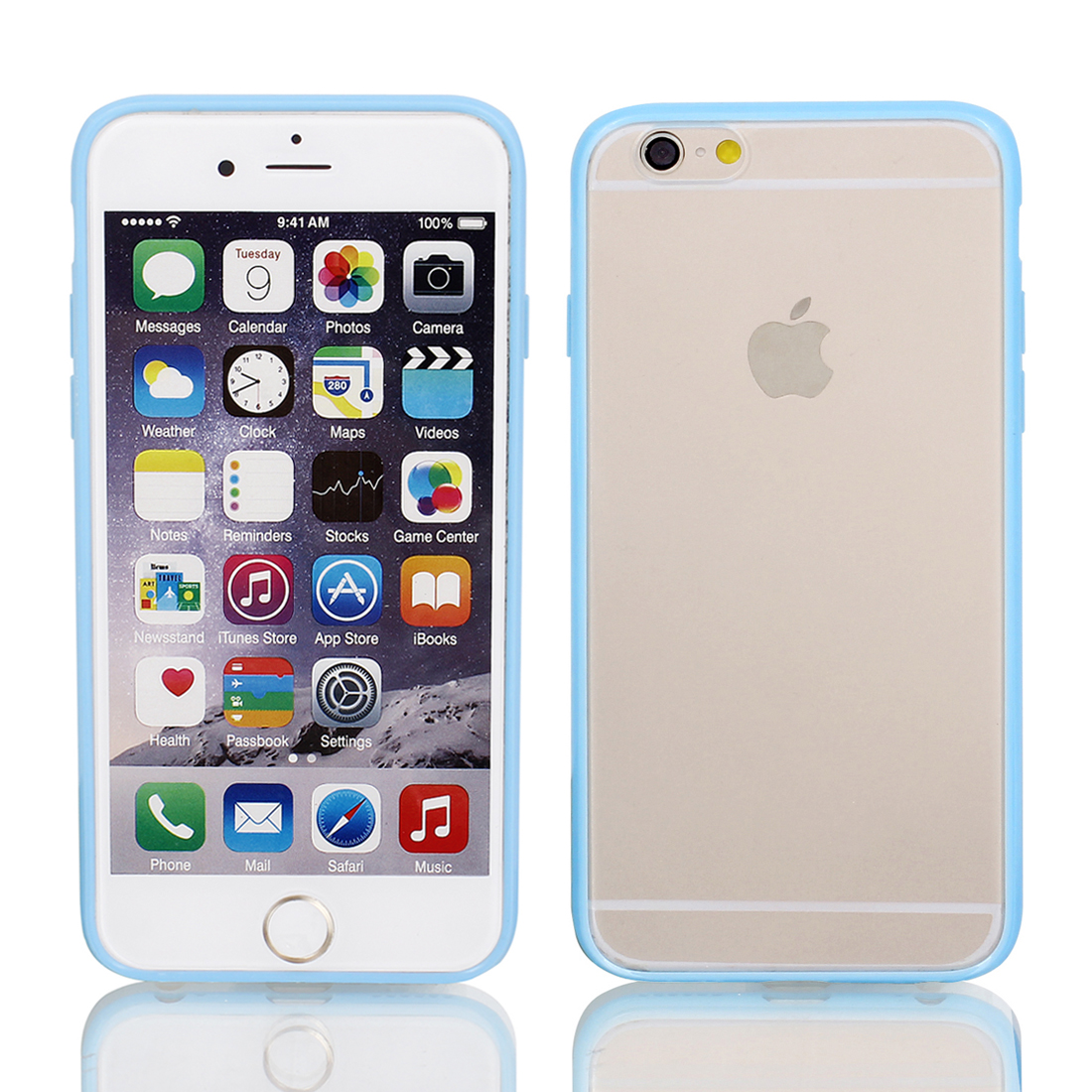 Frosted Slim Transparent Clear Blue Hard Case Cover for Apple iPhone 6 4.7""