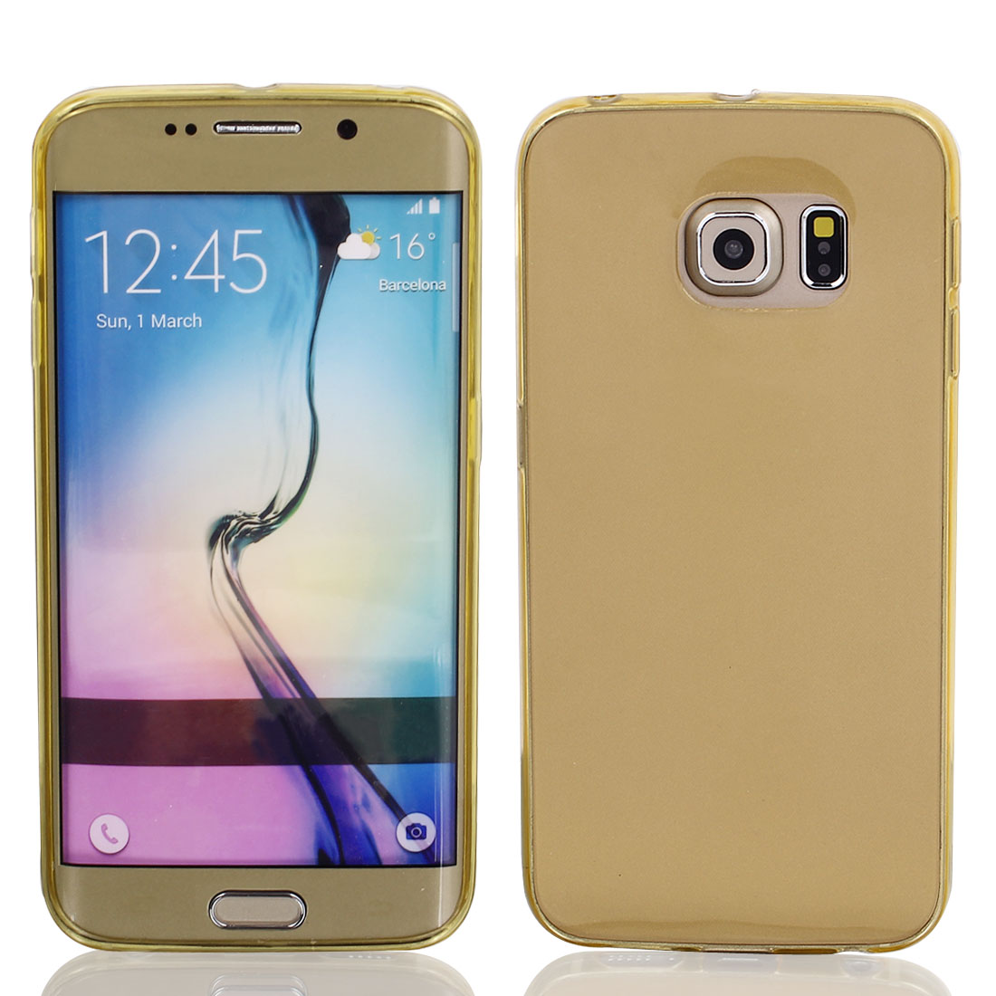 TPU Ultra Thin Case Cover Transparent Clear Beige for Galaxy S6 Edge G9200 G9250