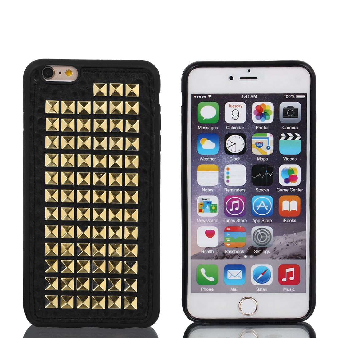 Faux Leather Case Cover Gold Tone w Protector Film for Apple iPhone 6 Plus 5.5""
