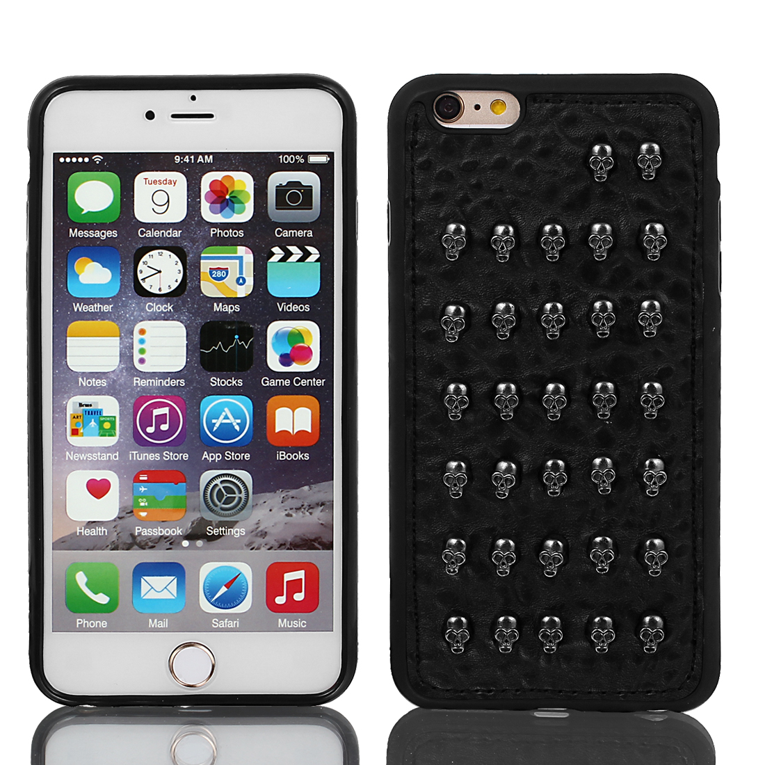 Faux Leather Rugged Protective Case Cover Black w Film for iPhone 6 Plus 5.5""