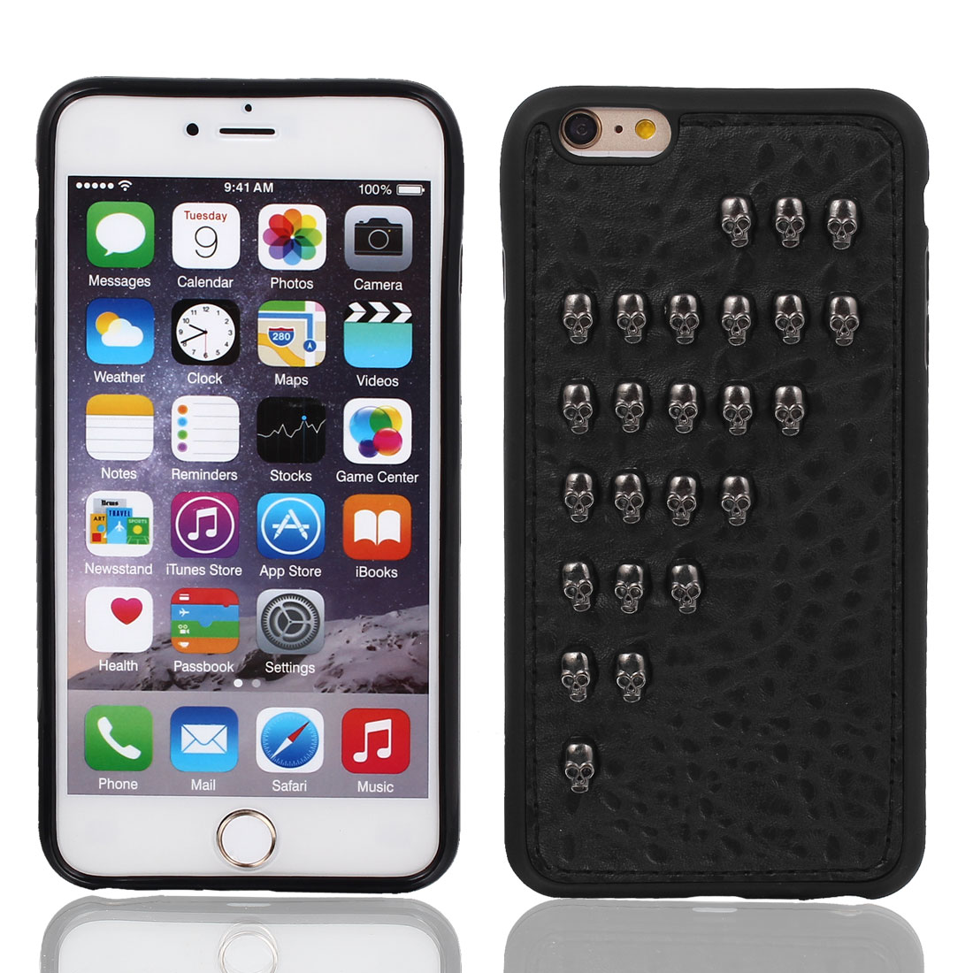 Faux Leather Protector Shell Skin Case Cover Black for Apple iPhone 6 Plus 5.5""
