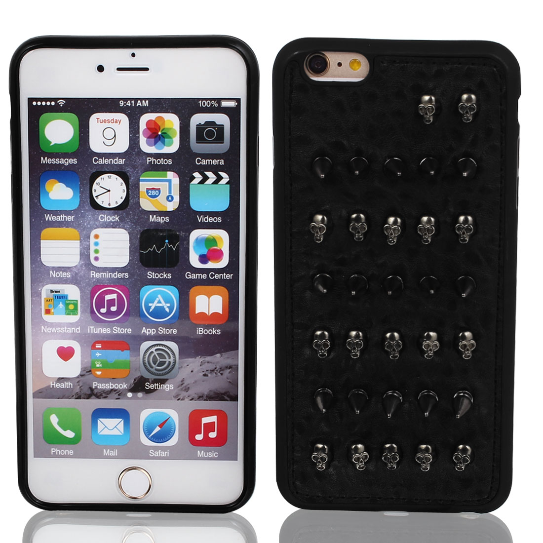 """Faux Leather Shockproof Shell Skin Case Cover Black for Apple iPhone 6 Plus 5.5"""""""