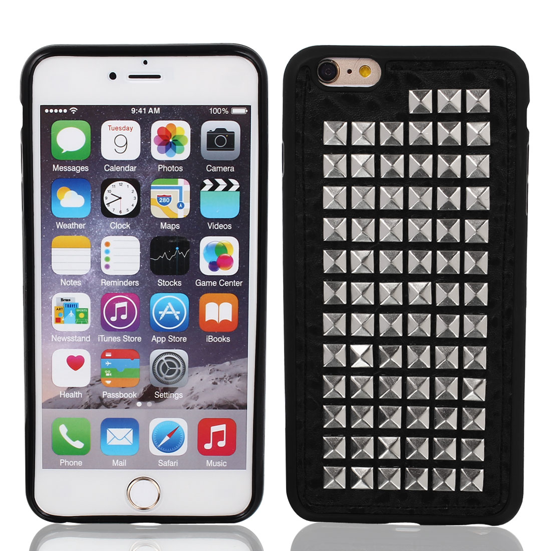 Faux Leather Case Cover Silver Tone w Protector Film for Apple iPhone 6 Plus 5.5""
