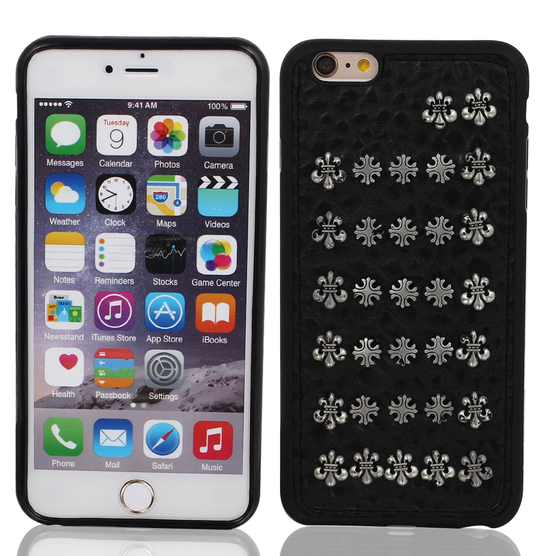 Faux Leather Rivet Decor Protective Shell Case Cover for iPhone 6 Plus 5.5""