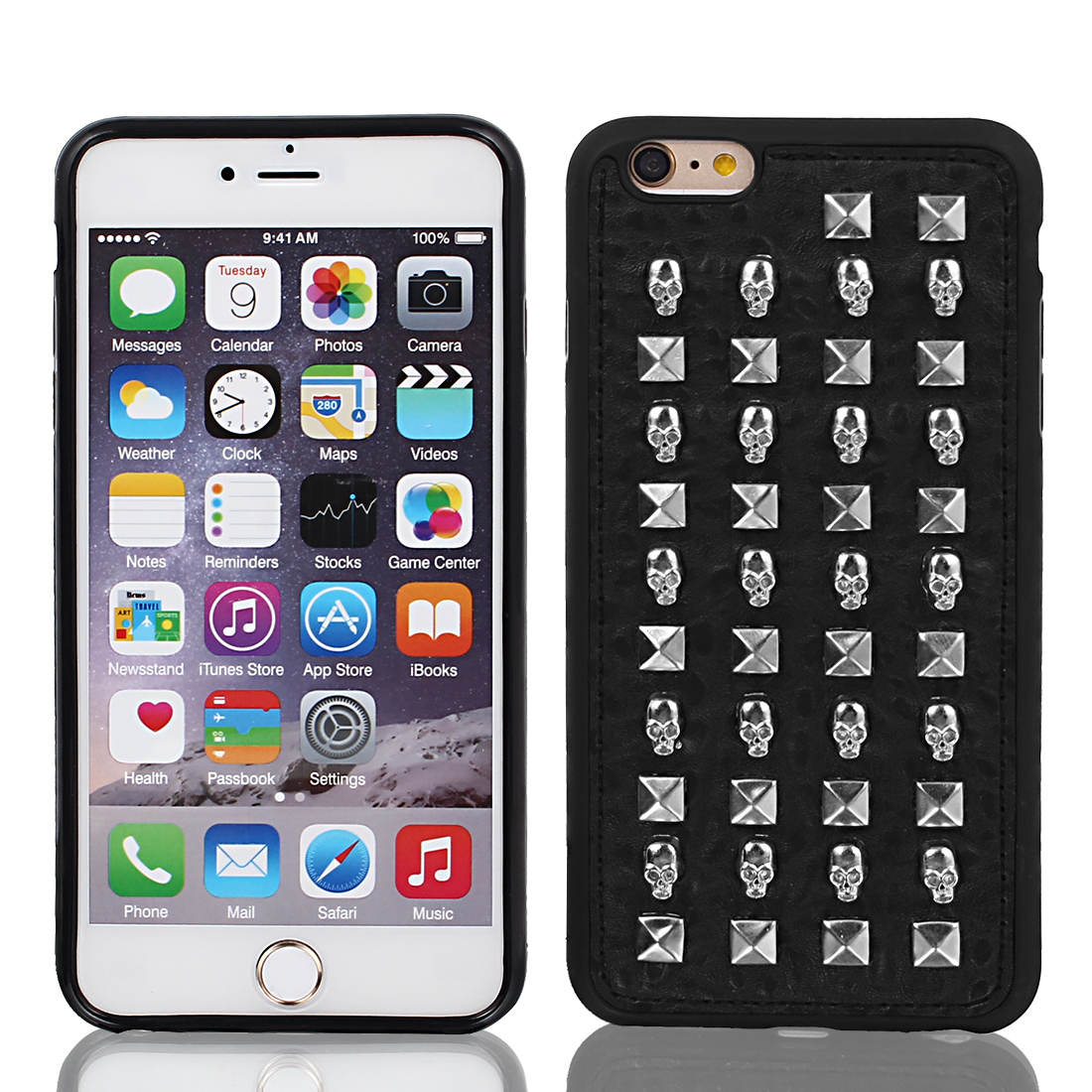 """Faux Leather Case Cover Silver Tone w Protect Film for Apple iPhone 6 Plus 5.5"""""""