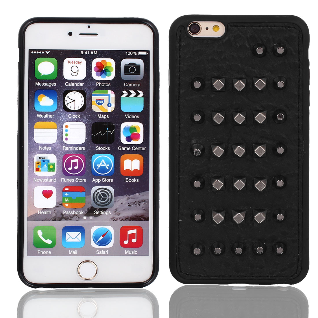 Faux Leather Protect Rugged Cover Case Black + Film for Apple iPhone 6 Plus 5.5""