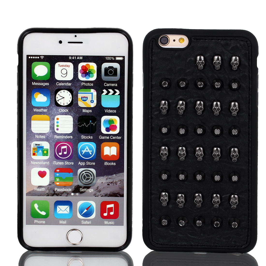 Shockproof Rugged Faux Leather Shell Cover Case Black for iPhone 6 Plus 5.5""