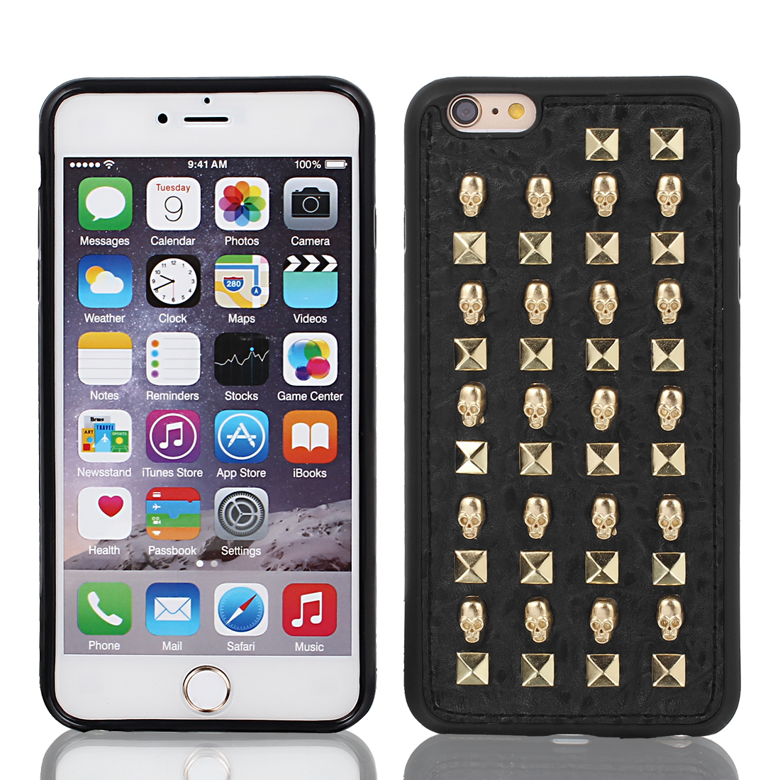 Faux Leather Case Cover Gold Tone w Protective Film for Apple iPhone 6 Plus 5.5""