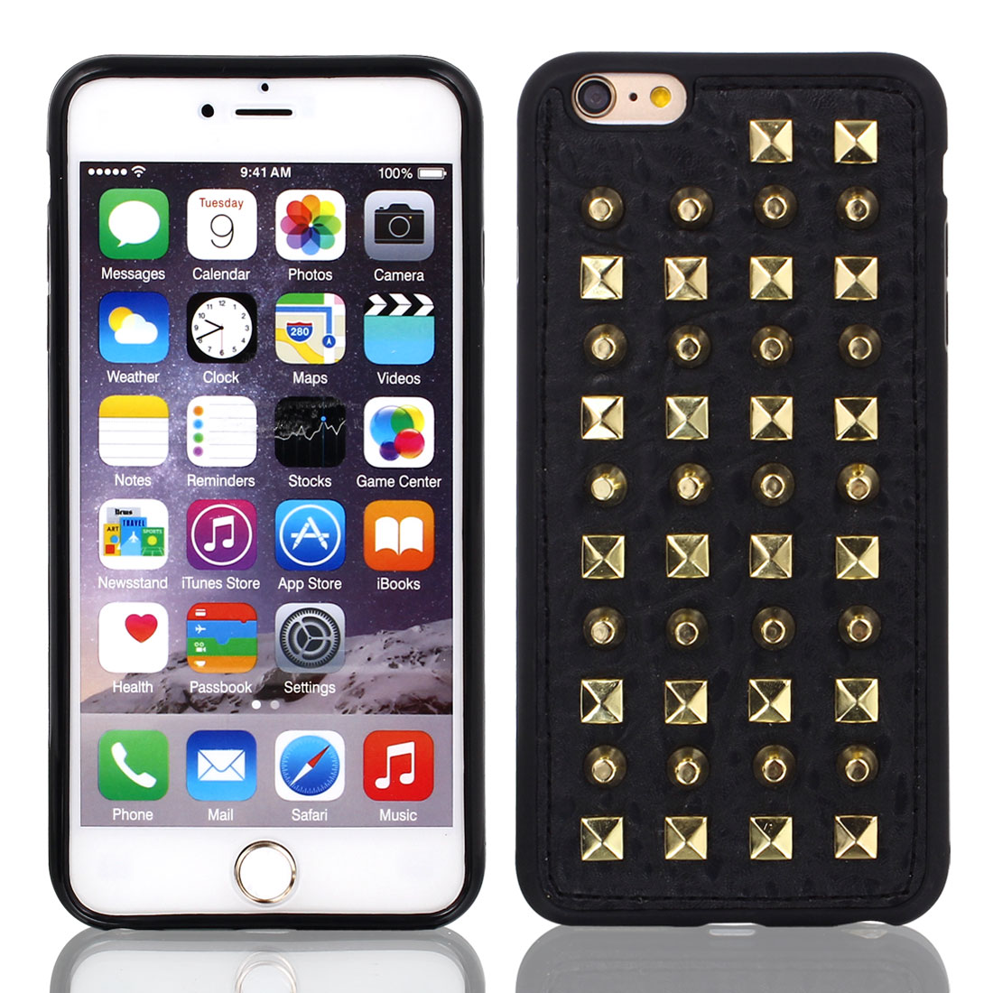 Faux Leather Rivet Protective Case Cover Black w Film for iPhone 6 Plus 5.5""